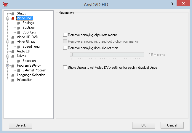 anydvd presettings to copy dvd